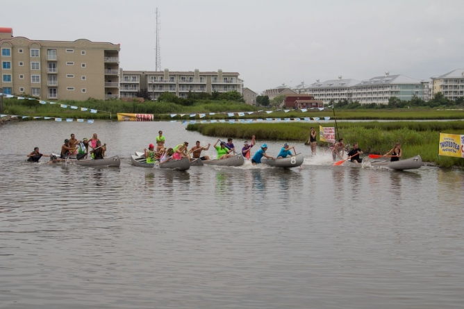 BJ's annual canoe races, July 15