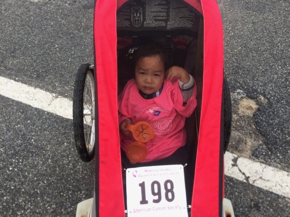 Making Strides Against Breast Cancer 5K: Running with the kid.