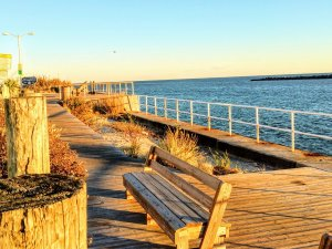 Bench at inlet park Ocean City Maryland