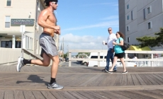 Walking the boardwalk for exercise
