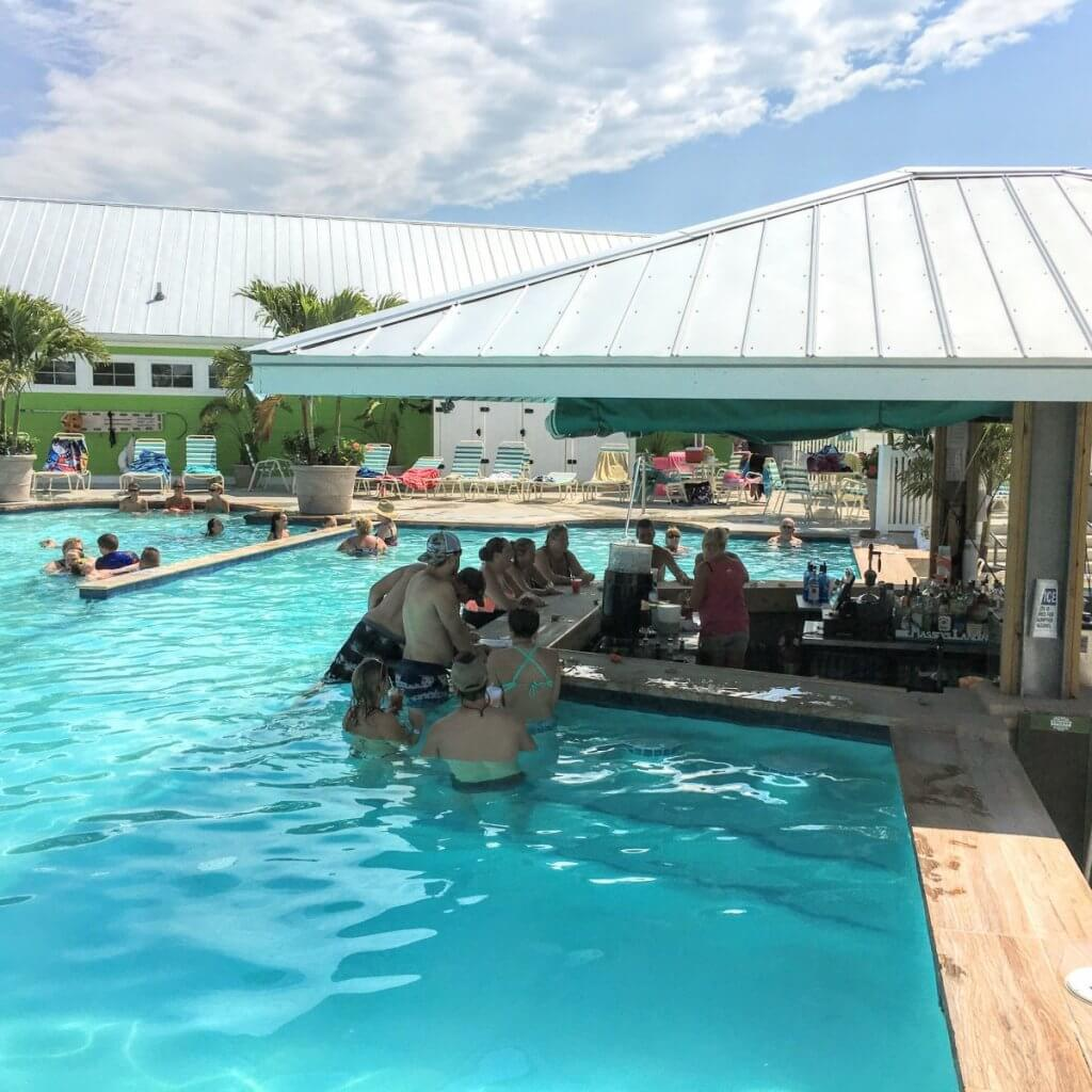 The swim-up pool bar is one of the great exclusive amenities at Massey's Landing. It's the only one in the state and is a super-cool way to spend an afternoon.